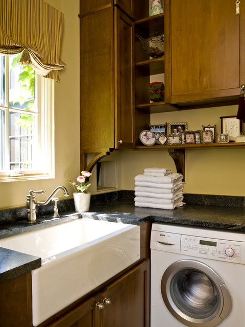 Apron Sinks Laundry Room Traditional with Apron Sink Ceramic Sink Shelves Washer Window Shades Wood