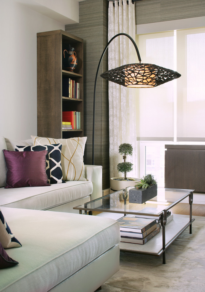 Arc Floor Lamp Living Room Contemporary with Arc Lamp Bold Patterns Bookcase Curtain Panels