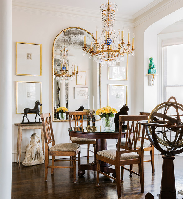 arched mirror Dining Room Traditional with antique and modern antiques boston boston interior design chandelier