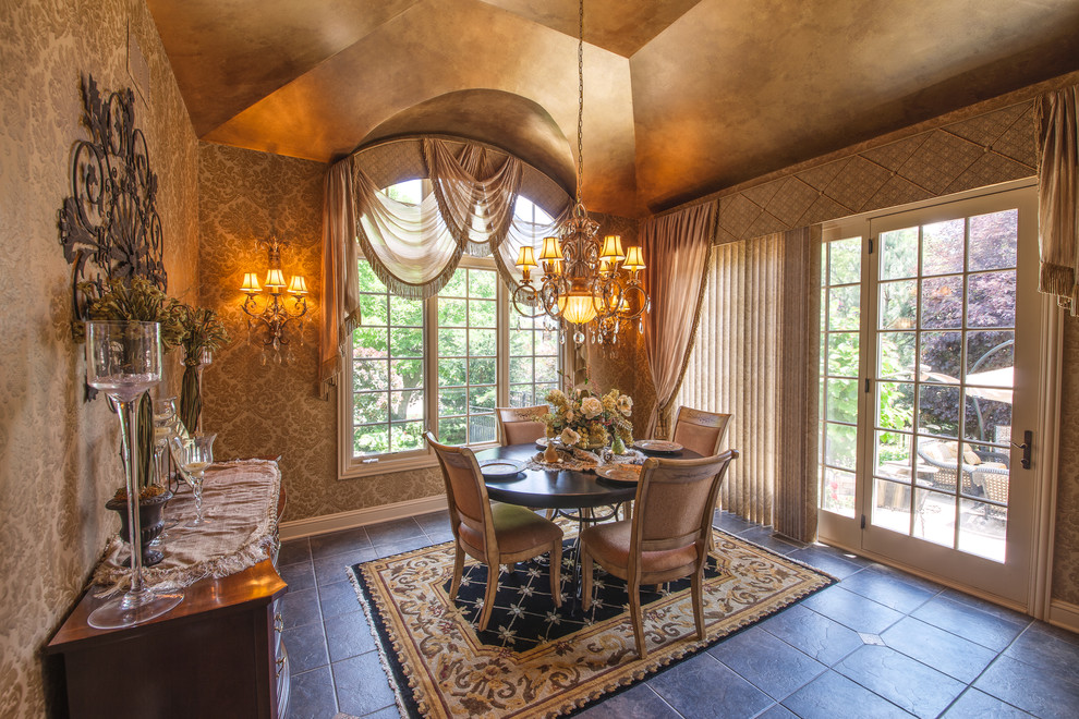 Arched Window Treatments Dining Room Traditional with Chandelier Chandelier Shades Damask Wallpaper Dark Floor