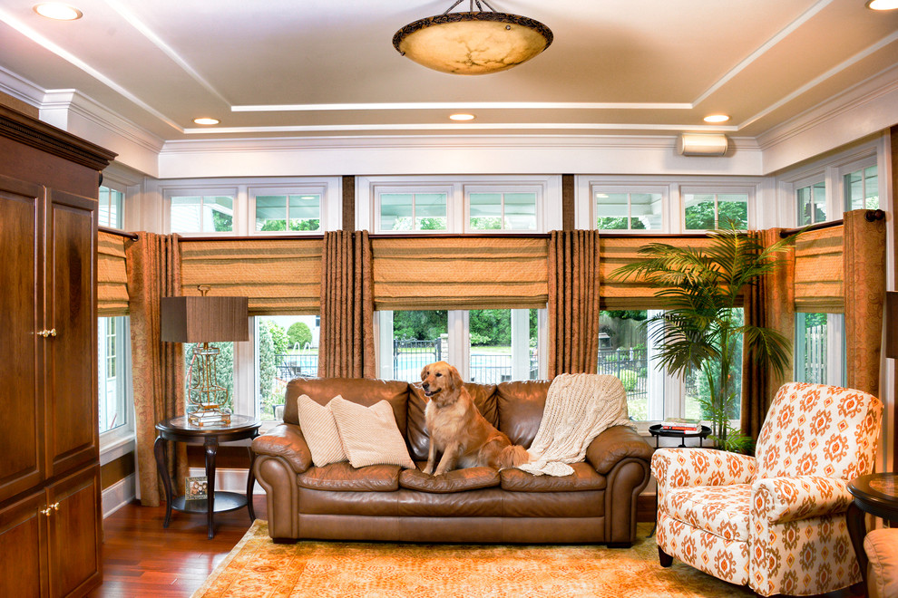 Arched Window Treatments Living Room Contemporary with Area Rugs Brown Leather Sofa Furniture Home