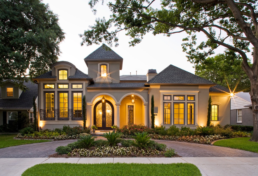Architectural Shingles Exterior Mediterranean with Arched Doorways Brick Chimney Circular Drive Covered
