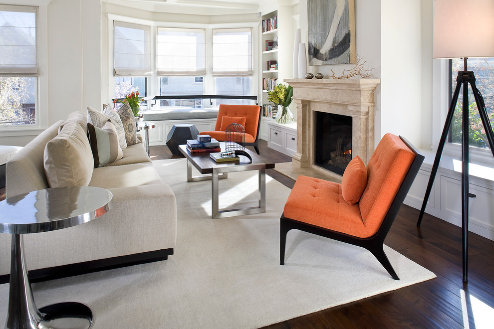 Armless Chair Living Room Contemporary with Area Rug Artwork Bay Window Bookcase Bookshelves