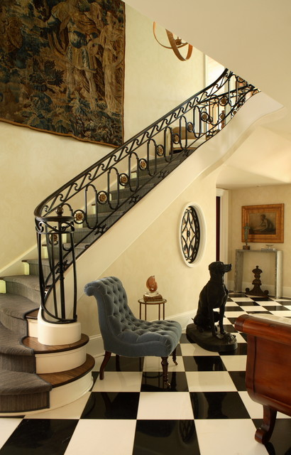 armless chairs Entry Traditional with accent chair banister black and white black and white