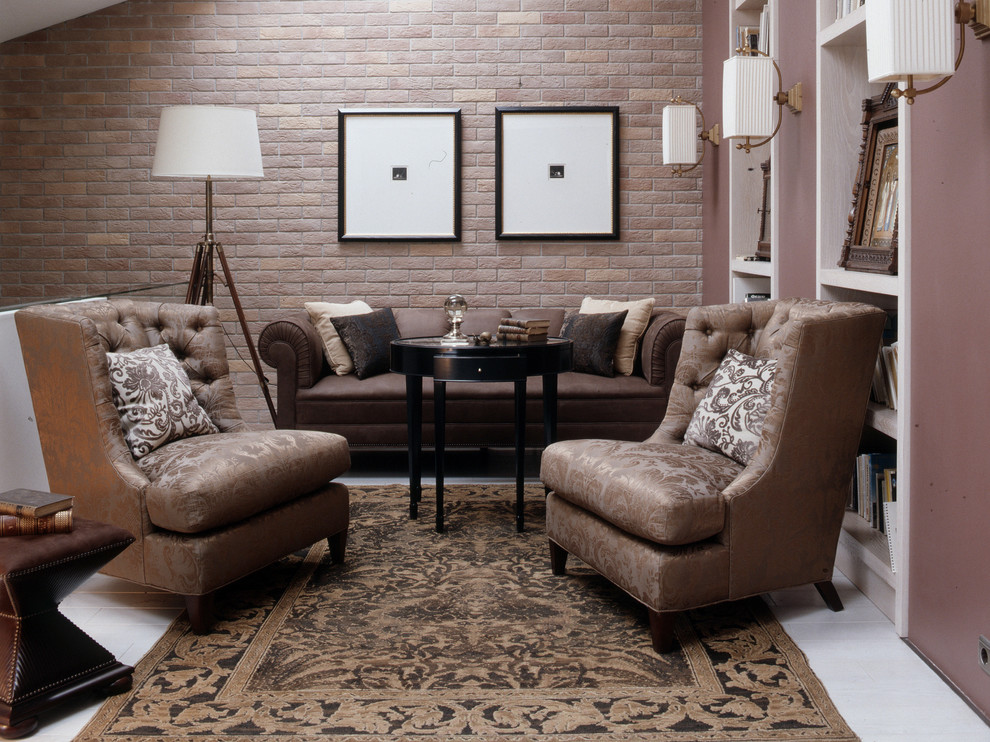 Armless Loveseat Living Room Transitional with Armless Chairs Brick Wall Brown Chairs Brown