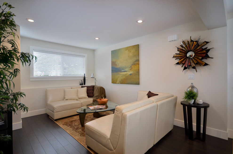 Armstrong Laminate Flooring Basement Contemporary with Beige Walls Black Side Table Dark Floors
