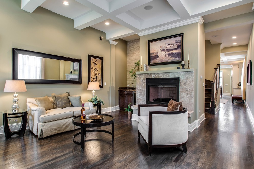 Armstrong Laminate Flooring Living Room Transitional with Baseboard Black Fireplace Surround Boat Art Coffered