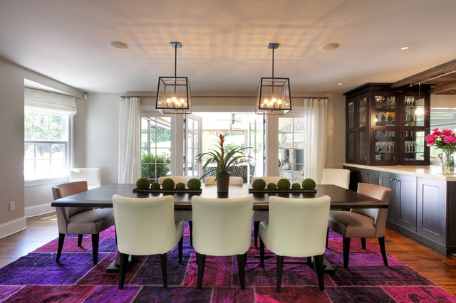 Artcraft Lighting Dining Room Contemporary with Area Rug Bromeliad Fuchsia Houseplants Lanterns Mixed Dining Chairs