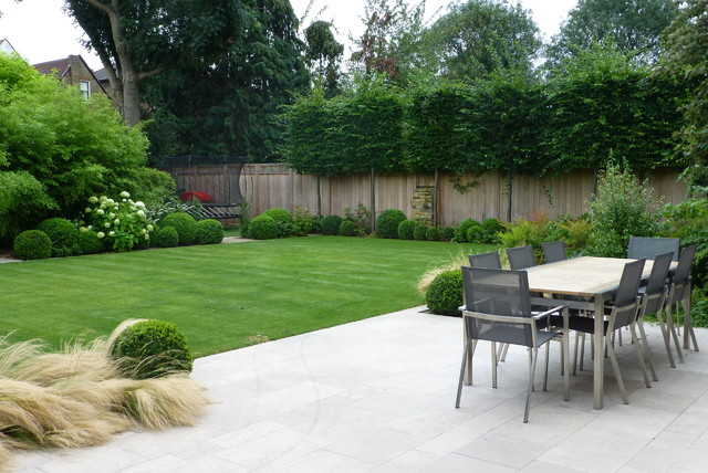 Artificial Topiary Trees Patio Contemporary with Aluminum Dining Chairs Grass Gray Chairs High Fence Lawn