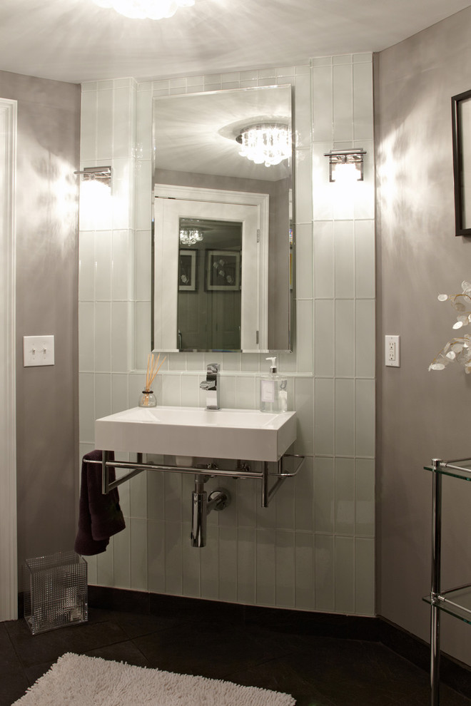 Asbestos Tile Removal Bathroom Contemporary with Ceiling Light Chrome Tagre Gray Wall Mirror