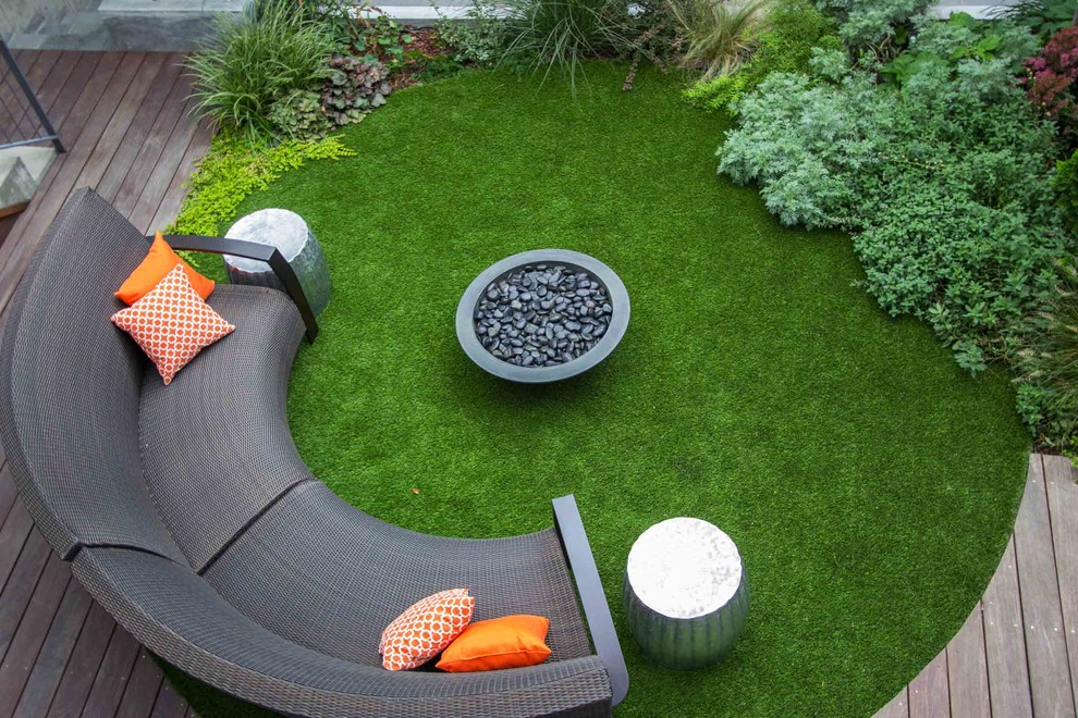 Astro Turf Rug Patio Contemporary with Accent Table Aerial View Circular Custom Bench