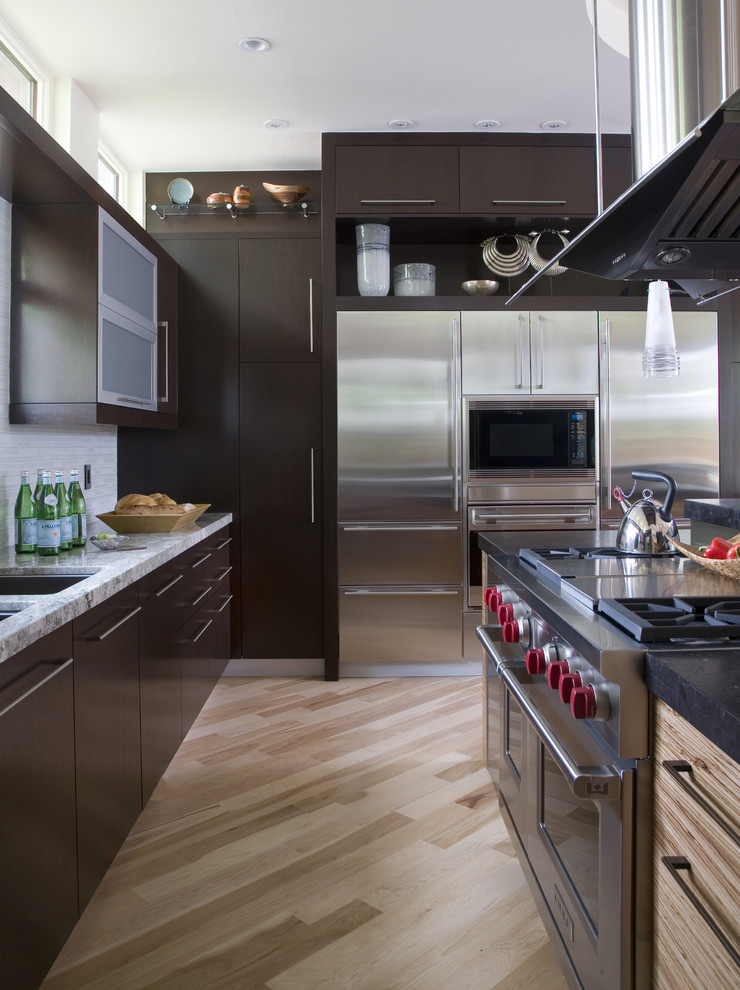 Atlas Homewares Kitchen Contemporary with Clerestory Windows Dark Stained Cabinets Diagonal Wood