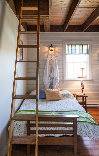 Attic Ladders Bedroom Beach with Antique Ceiling Joists Country Style Ladder Nightstand Quilt Robe
