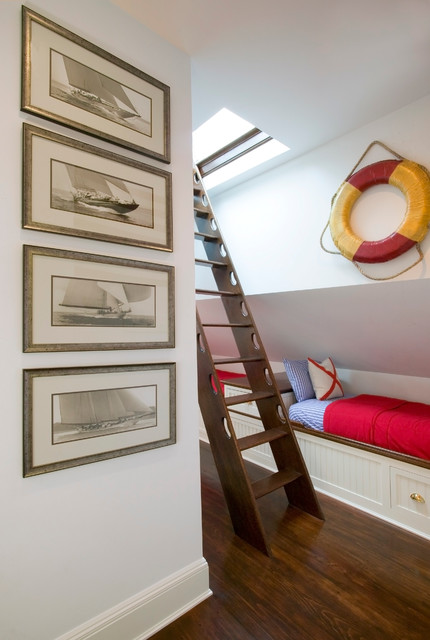 Attic Ladders Kids Traditional with Baseboard Beadboard Blue Bunk Beds Ladder Life Preserver Nautical