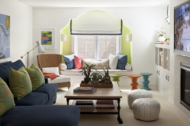 Avas Florist Family Room Eclectic with Accent Color Accent Lighting Airy Artwork Asid Bench Seating