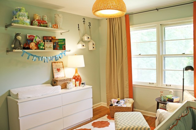 baby changing table dresser Nursery Modern with bookshelves changing table chest of drawers chevron curtains double