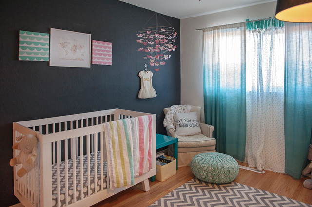 Babyletto Hudson Nursery Transitional with Baby Mobiles Chalkboard Paint Chevron Rug Crib