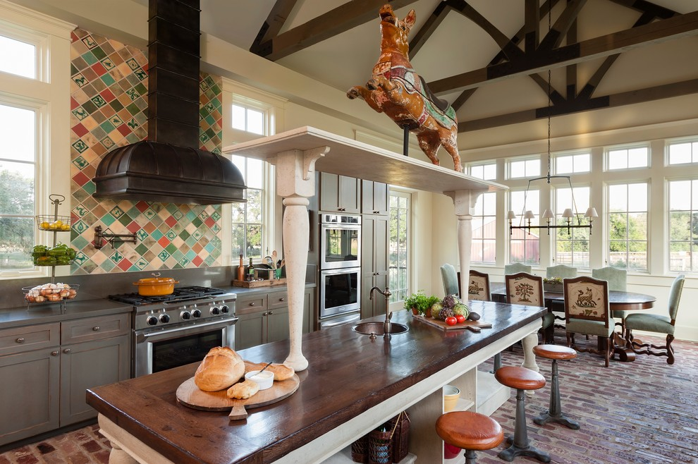 Backless Bar Stools Kitchen Farmhouse with 19th Century Carousel Pig Antique Tile Backless