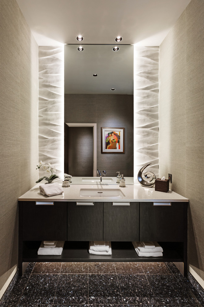 Backlit Mirror Powder Room Contemporary with Backlighting Cove Lighting Dark Maple Stain Edge