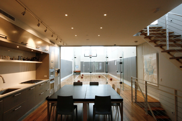 Backyard Basketball Court Kitchen Contemporary with Cable Railing Flat Panel Cabinets Indoor Basketball Court Safety