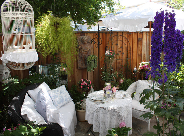 Backyard Batting Cages Patio Shabby Chic With Bird Cage  Container Plant Cottage Decorative Pillow Hanging Basket