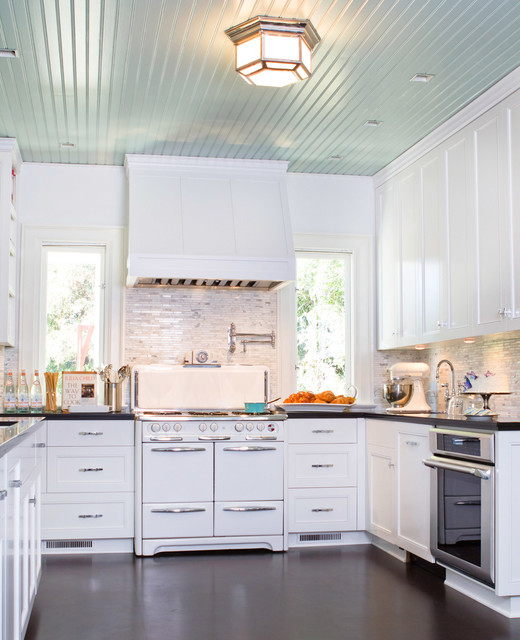 Bali Blinds Kitchen Traditional with Bead Board Ceiling Benjamin Moore Black Ceasarstone Black Countertops