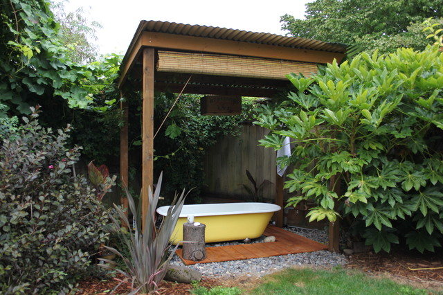 Bali Blinds Patio Eclectic with Bamboo Shade Bath Bathtub Clawfoot Corrugated Metal Roof Freestanding