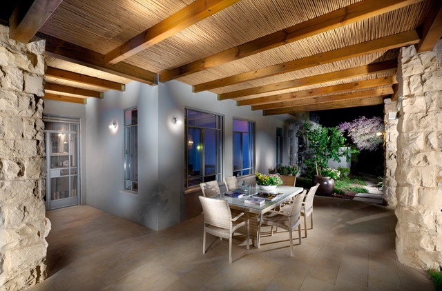 Bamboo Fencing Rolls Patio Contemporary with Exposed Beams Geometric Geometry Glass Doors Outdoor Dining Outdoor