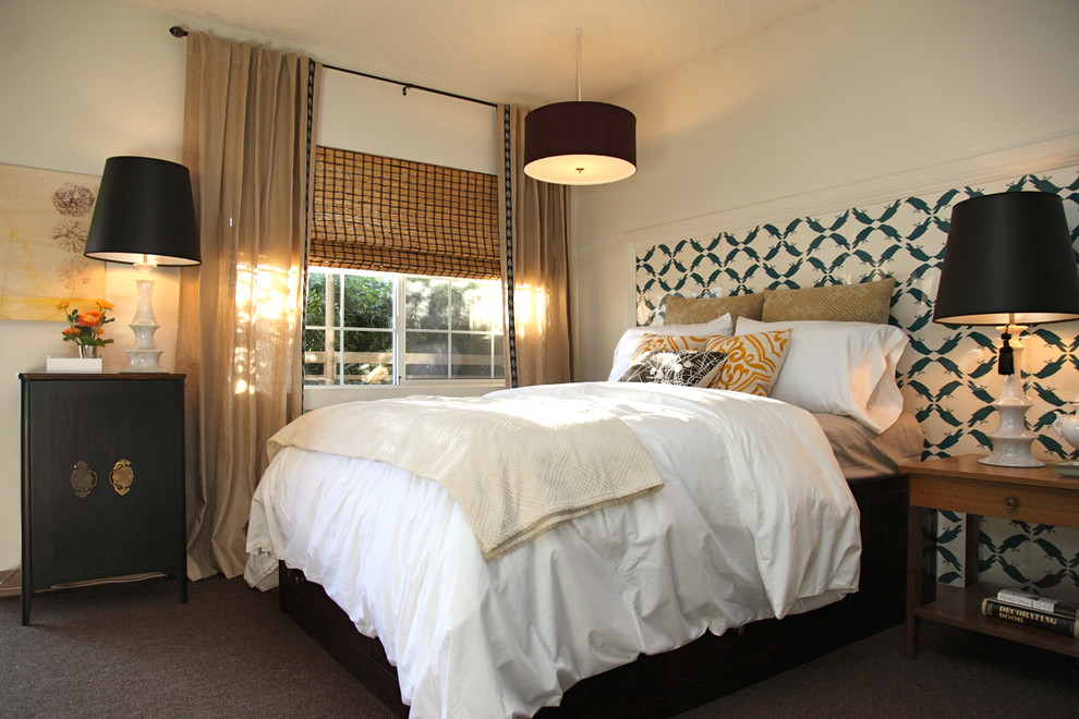 Bamboo Headboard Bedroom Contemporary with Bamboo Blinds Bedside Table Ceiling Lighting Curtains