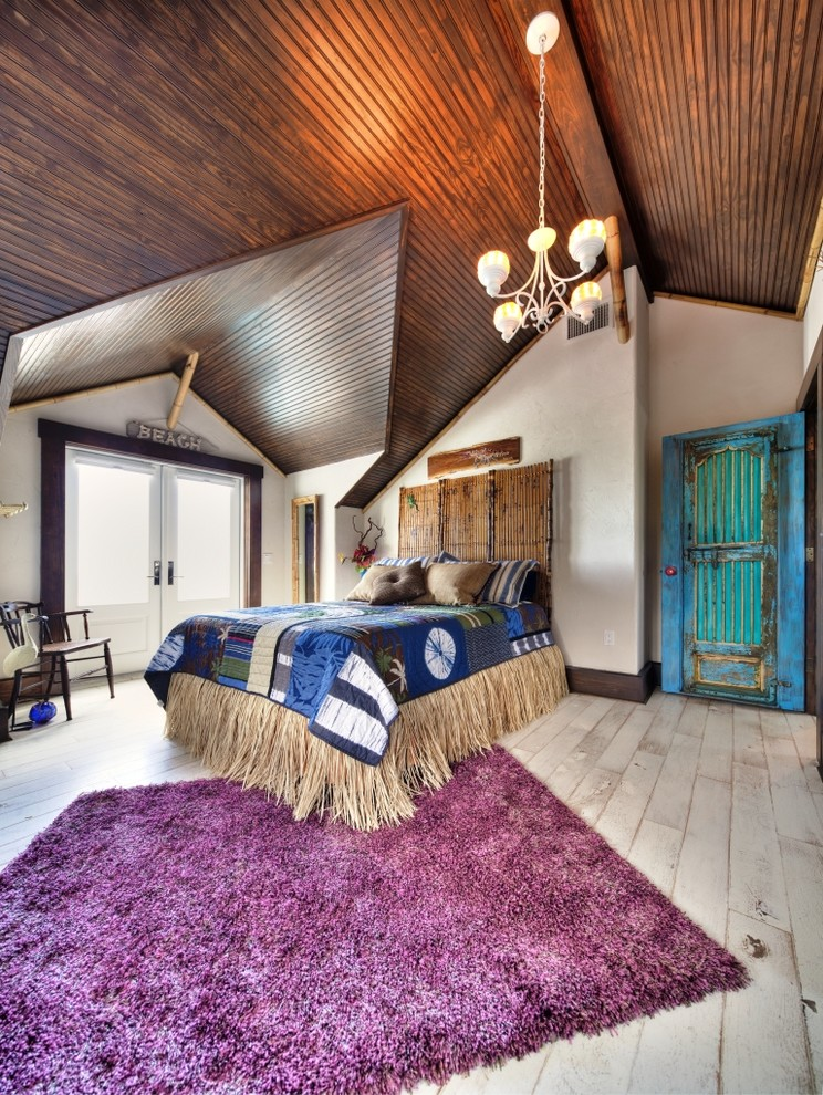 Bamboo Headboard Bedroom Eclectic with Area Rug Bed Bedding Chandelier Colorful Cottage