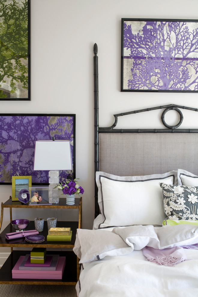 bamboo headboard Bedroom Eclectic with bamboo headboard boxes brass coral floral throw