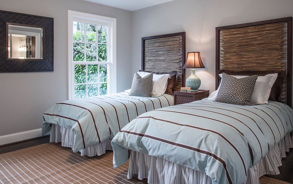 Bamboo Headboard Bedroom Traditional with Area Rug Bed Skirt Bedding Double Beds