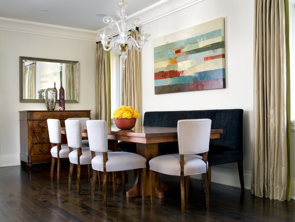 Banquette Bench Dining Room Contemporary with Art Band Banquette Bench Chair Chandelier Curtain