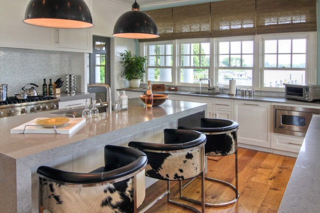 bar stools with arms Kitchen Beach with black pendant lamp cowhide bar stool gray counter microwave