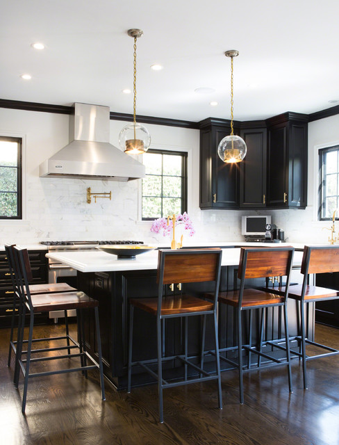 Bar Stools with Arms Kitchen Transitional with Black Cabinets Black Kitchen Island Chair Back Counter Stools