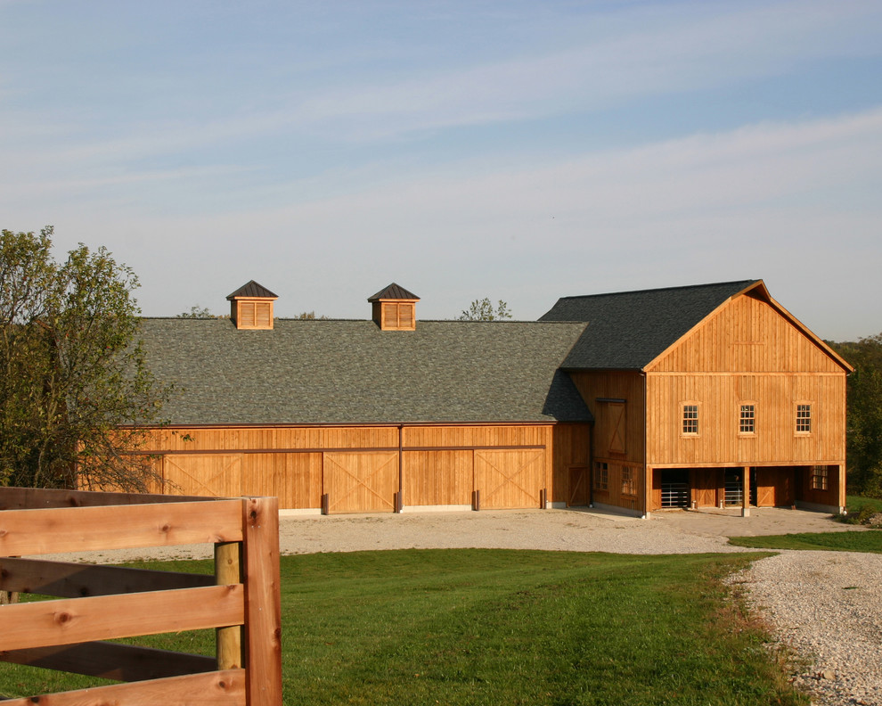 Barns with Living Quarters Garage and Shed Rustic with Barn Barn Doors Board and Batten Cupola