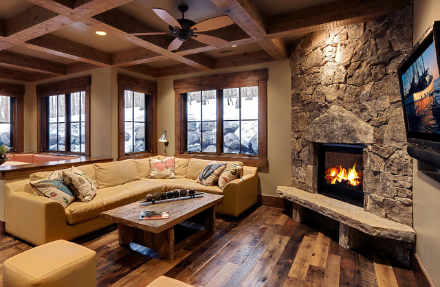 Barnwood flooring family room rustic with ceiling fan coffered barnwood flooring family room rustic with ceiling fan coffered ceilings corner fireplace hearth ledge lodge mozeypictures Choice Image