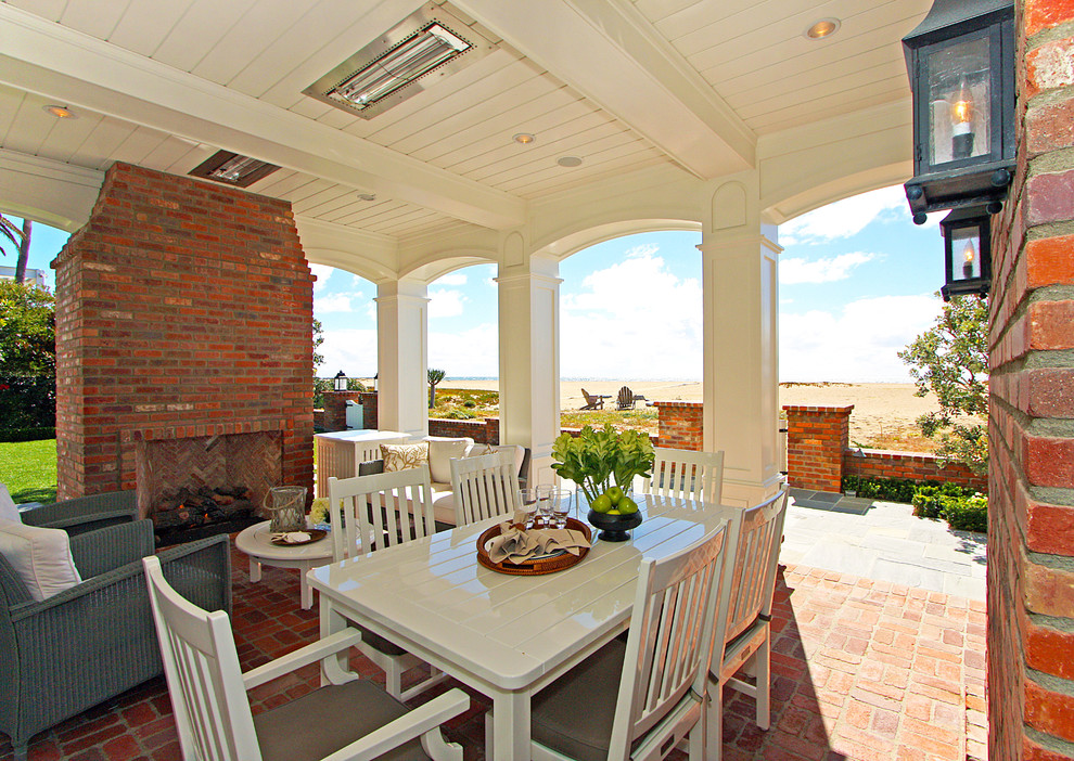 Baseboard Heater Covers Patio Traditional with Beach Brick Cottage Custom Detail Dining Fireplace