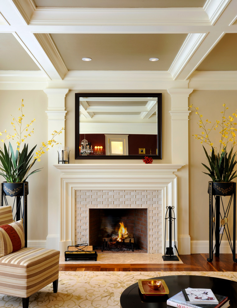 Basket Weave Tile Living Room Transitional with Beams Beige Ceiling Coffer Coffered Ceiling Crown