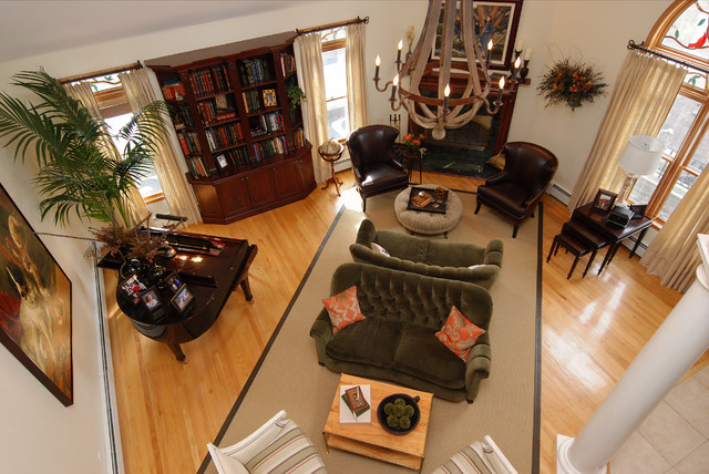 Bassett Furniture Quality Family Room Traditional with Area Rug Bookcase Bookshelves Built Ins Casement Windows Chandelier