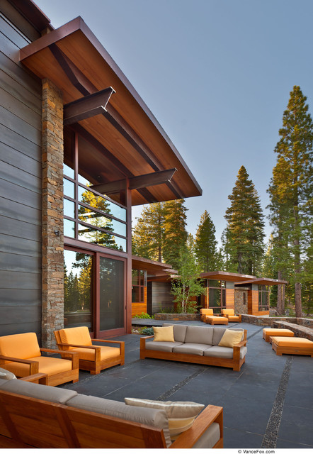 Bassett Furniture Quality Patio Contemporary with Beams Pine Outdoor Seating Overhang Siding Slate Stone Windows