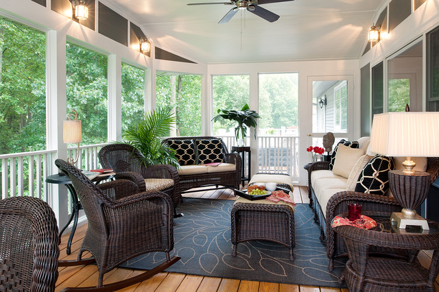 Bassett Furniture Quality Porch Traditional With Area Rug Ceiling Fan  Geometric Pillows Railing Rocking Chairs