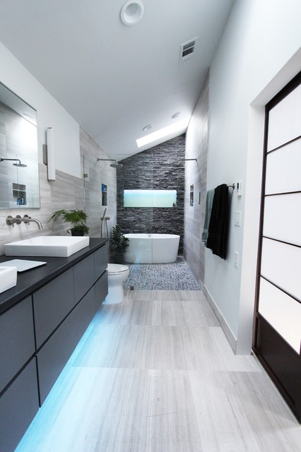 Bathroom Vanities Lowes Bathroom Contemporary with Curbless Shower with Hidden Shower Drain Double Bathroom Sink