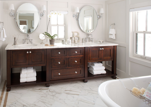 Bathroom Vanities Lowes Bathroom Traditional with Clawfoot Tub Dark Stained Wood Double Bathroom Sink Double
