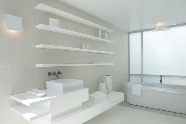 Bathroom Vessel Sinks Bathroom Modern with Above Counter Sink Accessories All White Master Bath Asymmetry Ceiling