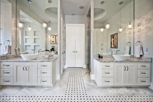 Bathroom Vessel Sinks Bathroom Traditional with Double Sinks Double Vanity His and Hers Pendant Lights