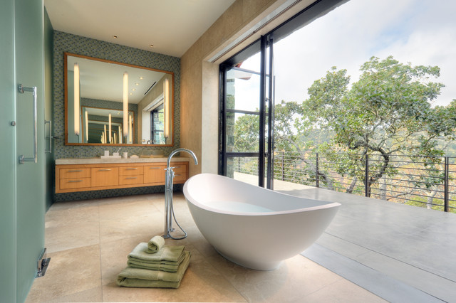 Bathtub Faucets Bathroom Contemporary with Anigre Balcony Bathroom Cool Color Palette Deck Floating Wood