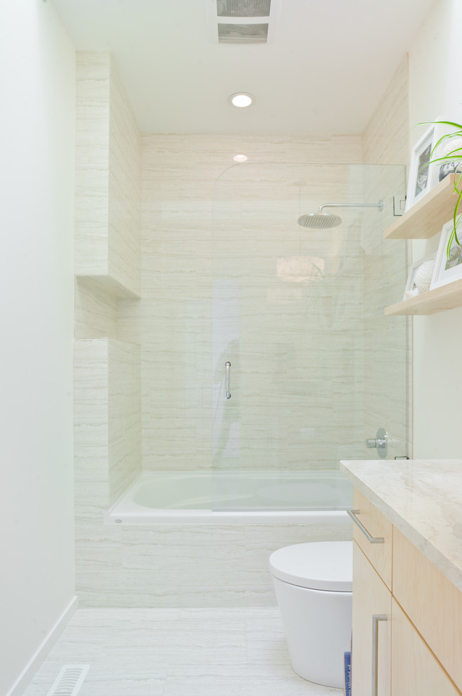 Bathtub Shower Combo Bathroom Contemporary with Bathroom Countertop Ceiling Lights Drawer Pulls Floating