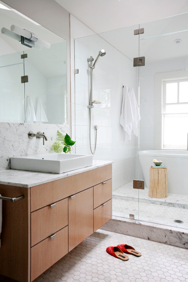 Bathtub Shower Combo Bathroom Contemporary with Above Counter Sink Bright Contemporary Edge Pulls