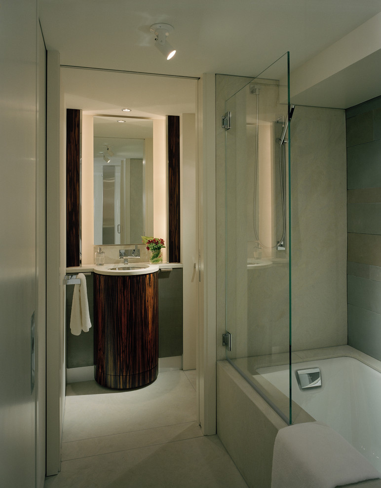 Bathtub Shower Combo Bathroom Contemporary with Backlit Mirror Divided Bath Glass Glass Divide